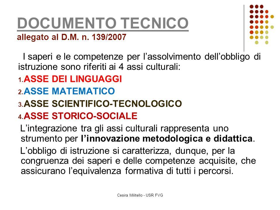 DOCUMENTO TECNICO DOCUMENTO TECNICO allegato al D.M. n. 139/2007 I saperi e le competenze per l'assolvimento dell'obbligo di istruzione sono riferiti