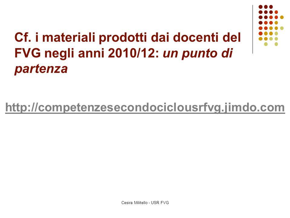 Cf. i materiali prodotti dai docenti del FVG negli anni 2010/12: un punto di partenza http://competenzesecondociclousrfvg.jimdo.com Cesira Militello -