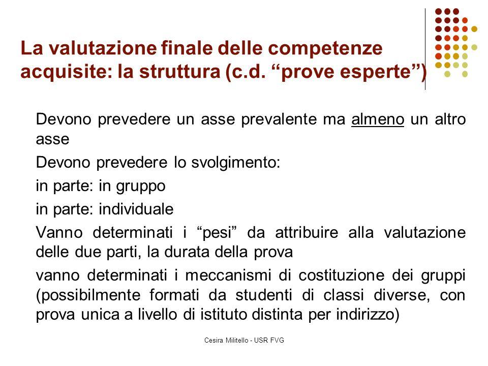 """La valutazione finale delle competenze acquisite: la struttura (c.d. """"prove esperte"""") Devono prevedere un asse prevalente ma almeno un altro asse Devo"""