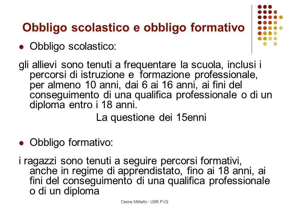 Cesira Militello - USR FVG L'obbligo formativo 1/2 Legge 17 maggio 1999, n.
