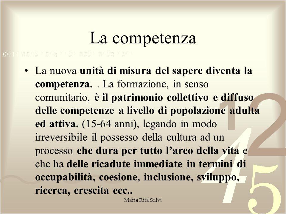 La competenza La nuova unità di misura del sapere diventa la competenza..