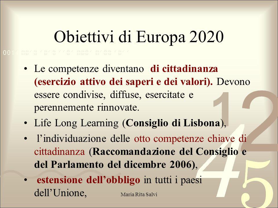Obiettivi di Europa 2020 Le competenze diventano di cittadinanza (esercizio attivo dei saperi e dei valori).