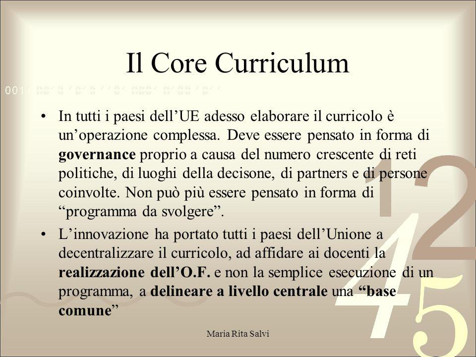 Il Core Curriculum In tutti i paesi dell'UE adesso elaborare il curricolo è un'operazione complessa.