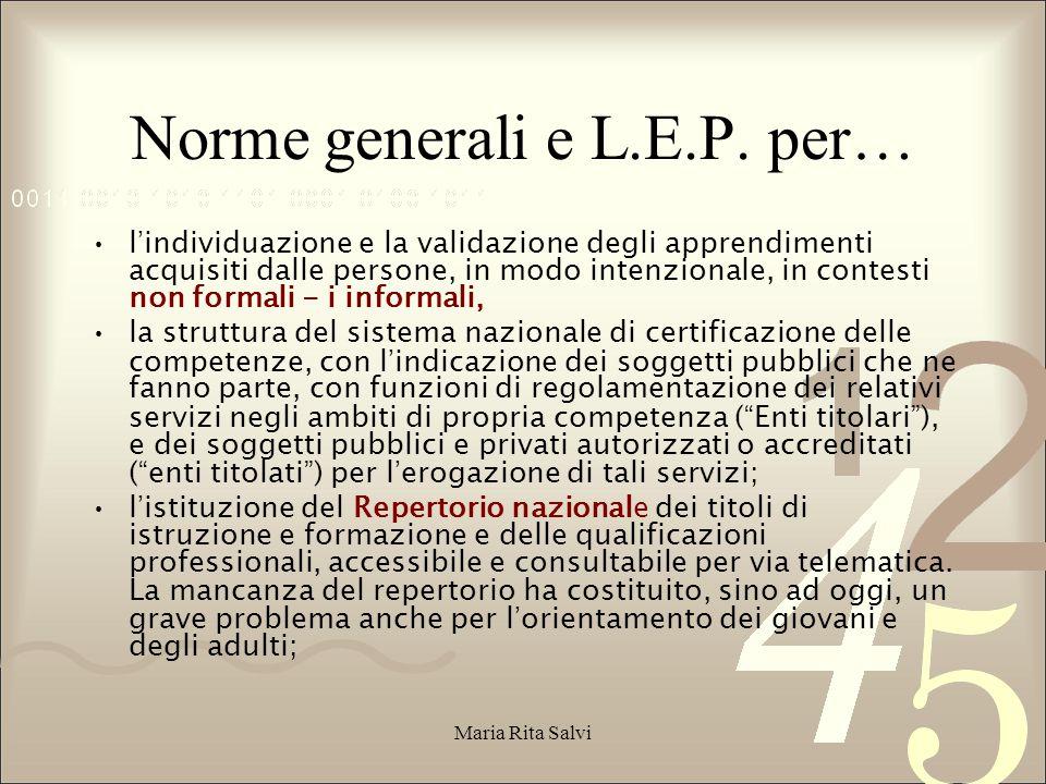 Norme generali e L.E.P.