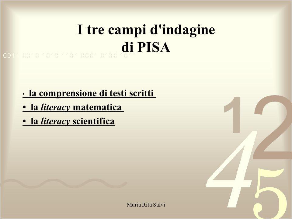 I tre campi d indagine di PISA la comprensione di testi scritti la literacy matematica la literacy scientifica Maria Rita Salvi
