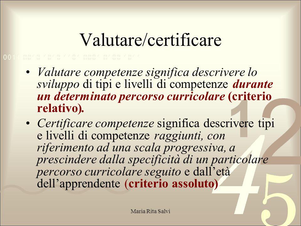 Valutare competenze significa descrivere lo sviluppo di tipi e livelli di competenze durante un determinato percorso curricolare (criterio relativo).