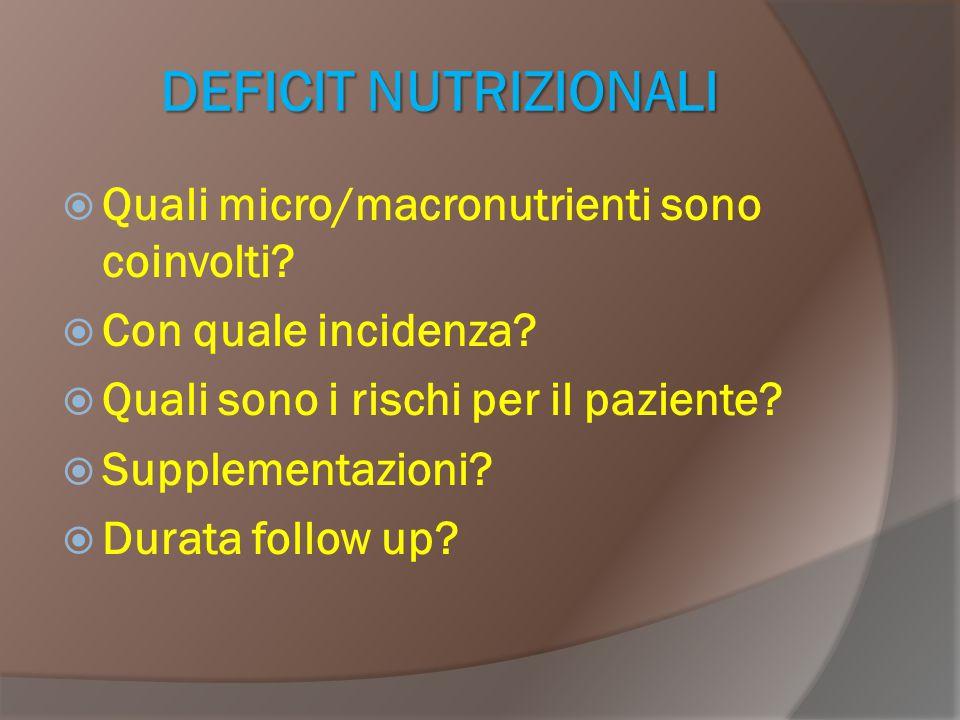 DEFICIT NUTRIZIONALI  Quali micro/macronutrienti sono coinvolti?  Con quale incidenza?  Quali sono i rischi per il paziente?  Supplementazioni? 