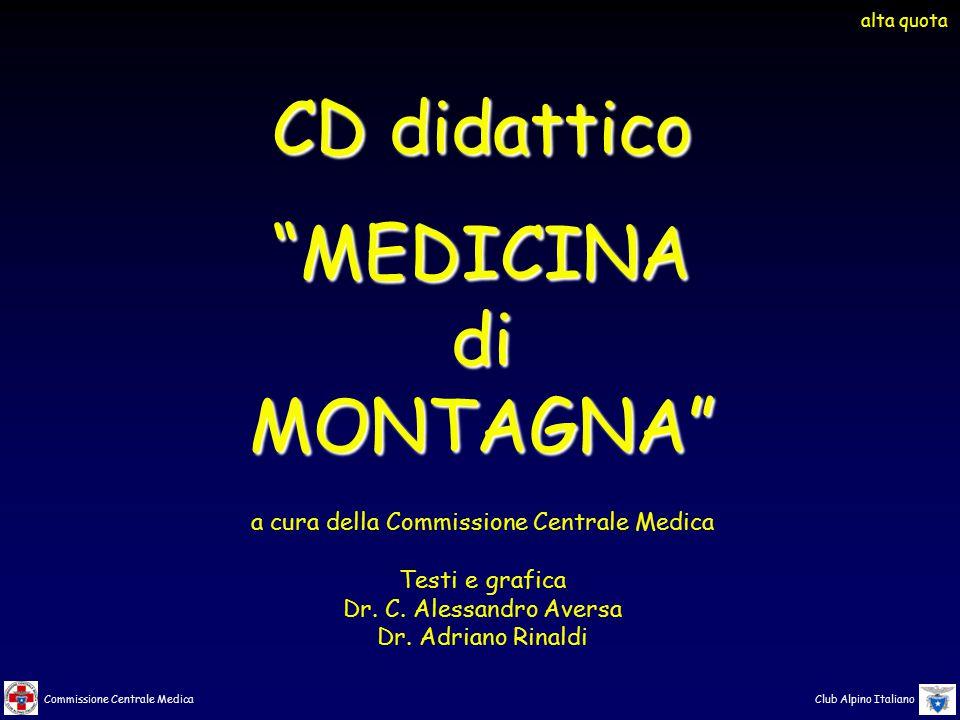 """Commissione Centrale Medica Club Alpino Italiano CD didattico """"MEDICINAdiMONTAGNA"""" a cura della Commissione Centrale Medica Testi e grafica Dr. C. Ale"""