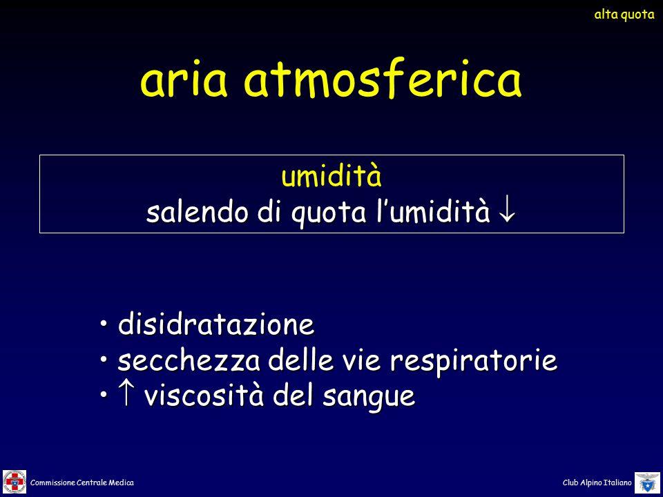 Commissione Centrale Medica Club Alpino Italiano disidratazionedisidratazione secchezza delle vie respiratoriesecchezza delle vie respiratorie  visco