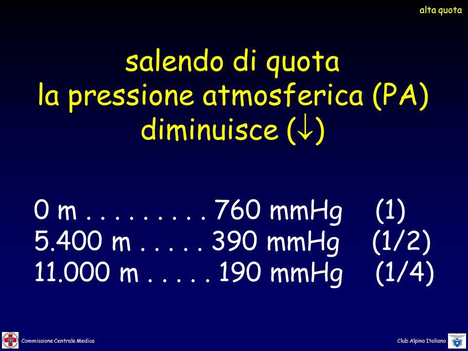 Commissione Centrale Medica Club Alpino Italiano salendo di quota la pressione atmosferica (PA) diminuisce (  ) 0 m......... 760 mmHg (1) 5.400 m....