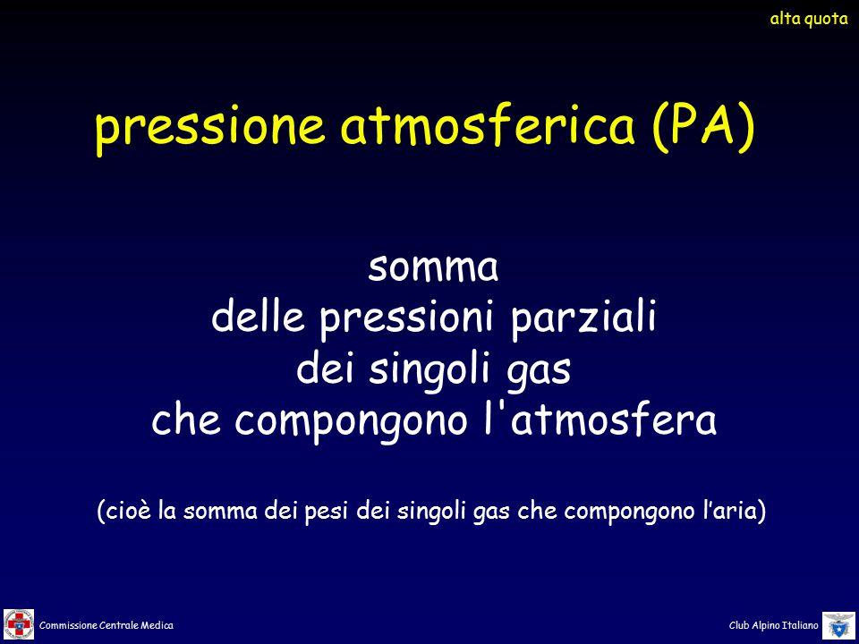 Commissione Centrale Medica Club Alpino Italiano pressione atmosferica (PA) somma delle pressioni parziali dei singoli gas che compongono l'atmosfera