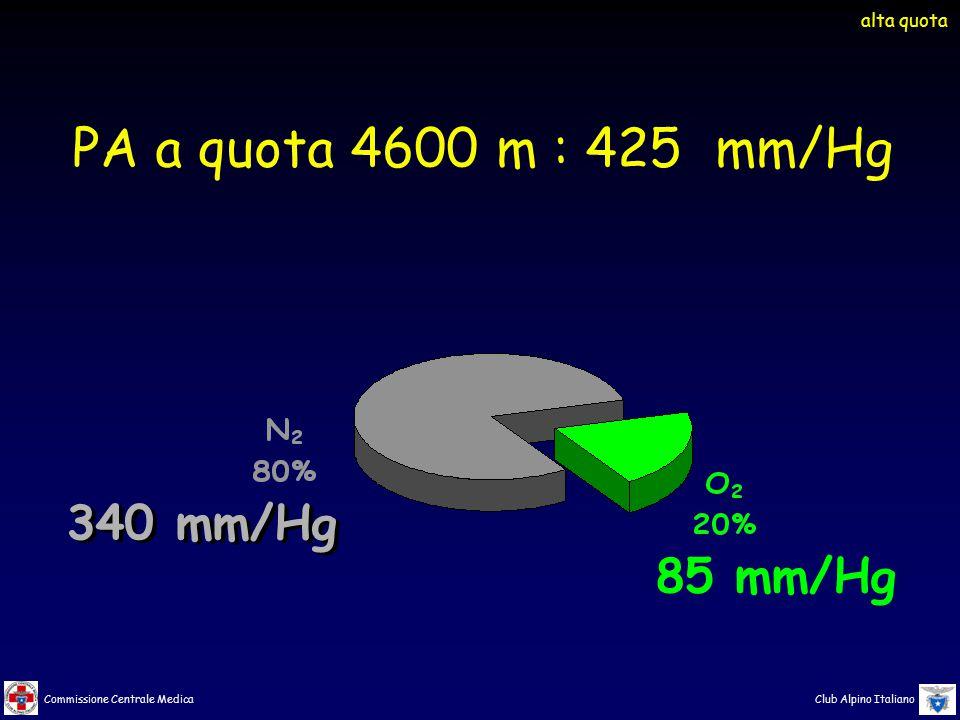 Commissione Centrale Medica Club Alpino Italiano 340 mm/Hg 85 mm/Hg PA a quota 4600 m : 425 mm/Hg alta quota