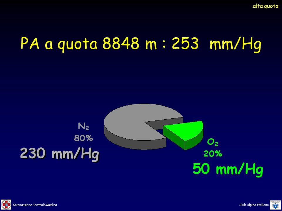 Commissione Centrale Medica Club Alpino Italiano 230 mm/Hg 50 mm/Hg PA a quota 8848 m : 253 mm/Hg alta quota