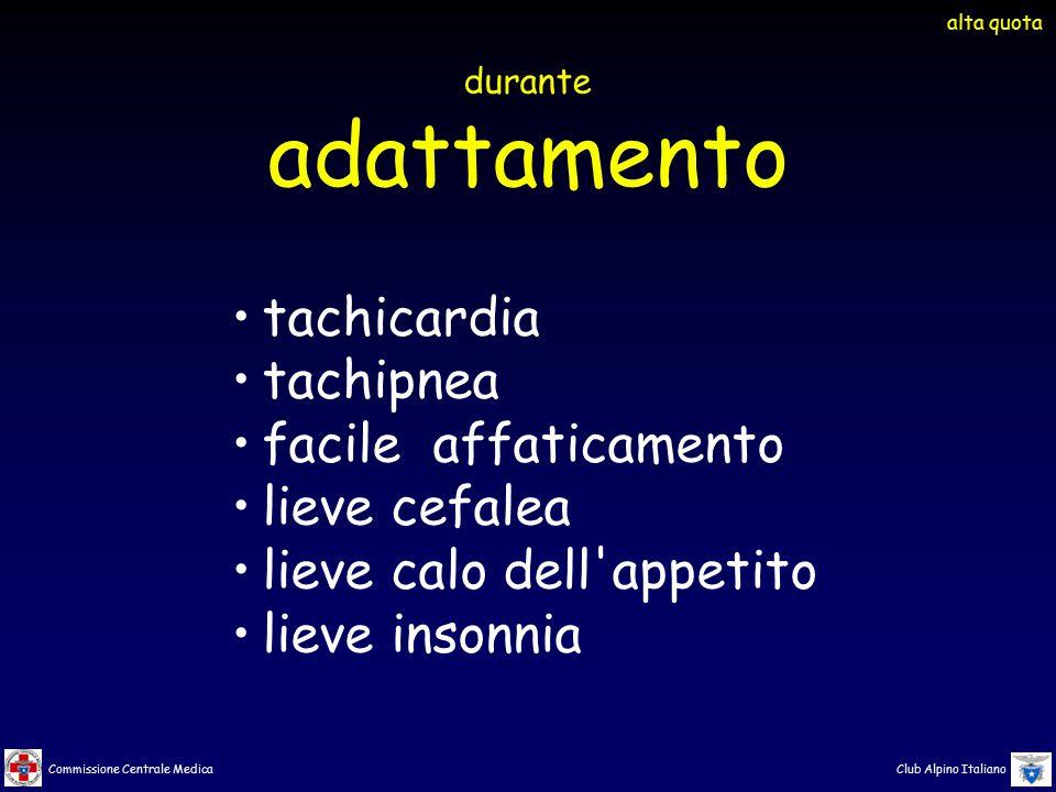 Commissione Centrale Medica Club Alpino Italiano tachicardia tachipnea facile affaticamento lieve cefalea lieve calo dell'appetito lieve insonnia dura