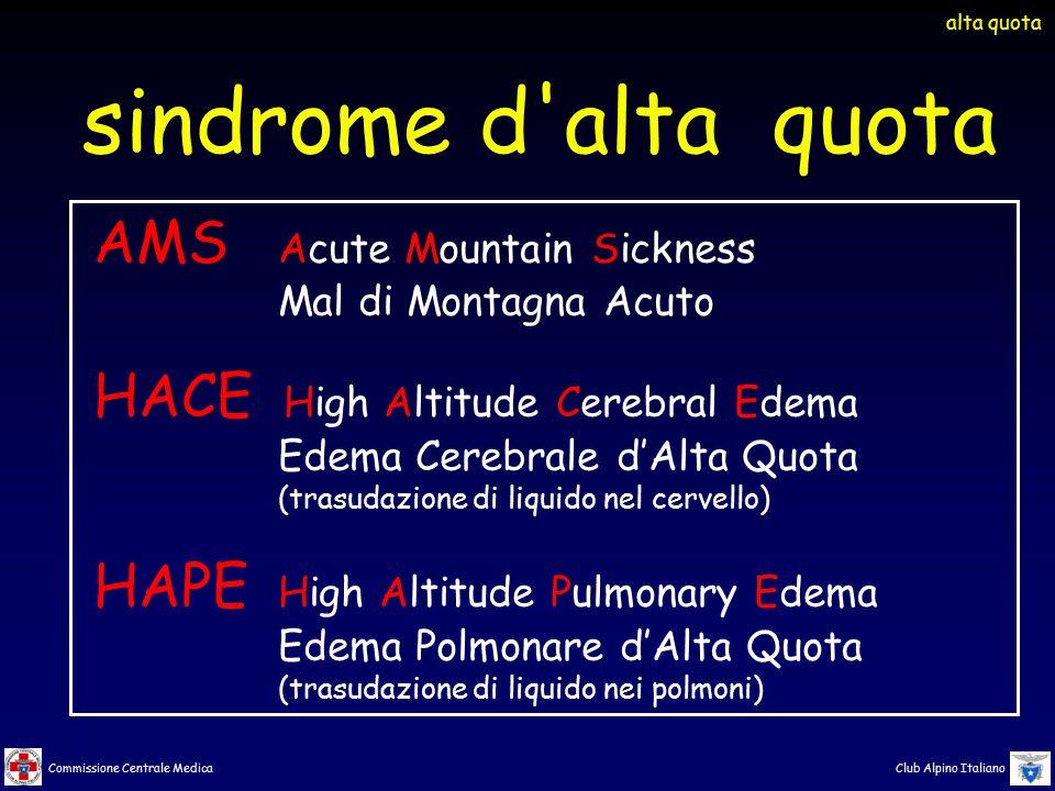 Commissione Centrale Medica Club Alpino Italiano sindrome d'alta quota AMS Acute Mountain Sickness Mal di Montagna Acuto HACE High Altitude Cerebral E