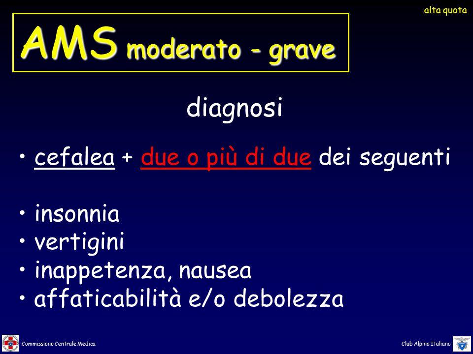 Commissione Centrale Medica Club Alpino Italiano diagnosi cefalea + due o più di due dei seguenti insonnia vertigini inappetenza, nausea affaticabilit