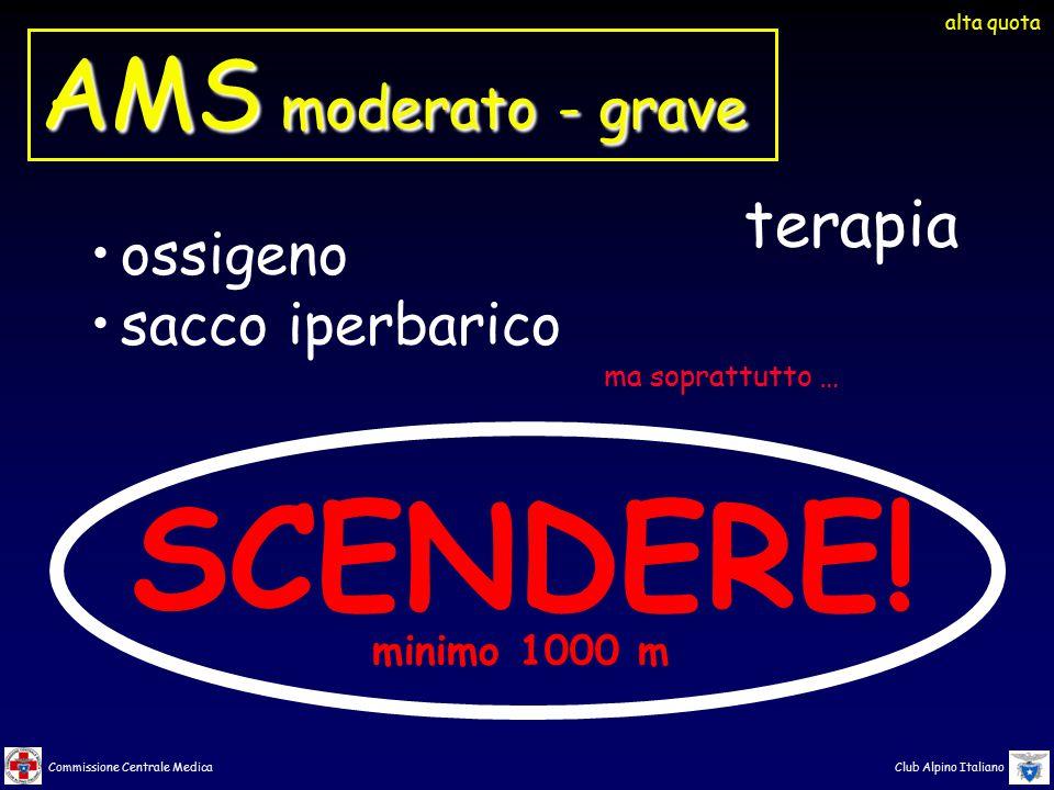 Commissione Centrale Medica Club Alpino Italiano terapia SCENDERE! minimo 1000 m ossigeno sacco iperbarico alta quota AMS moderato - grave ma soprattu