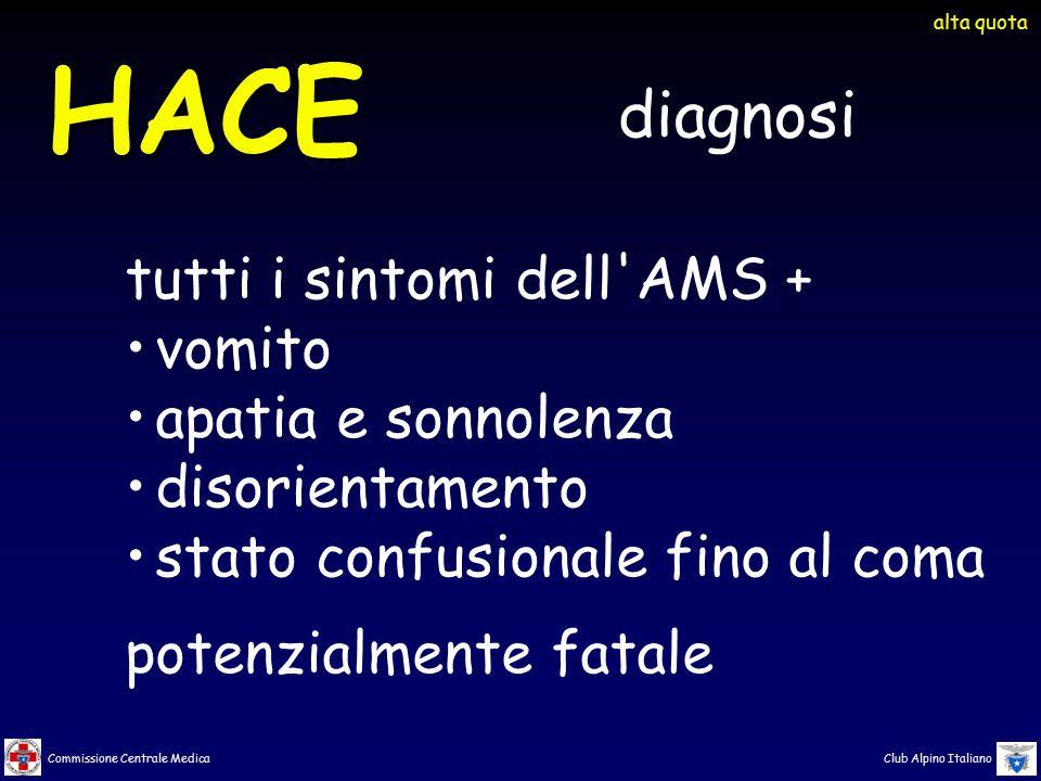 Commissione Centrale Medica Club Alpino Italiano HACE alta quota diagnosi tutti i sintomi dell'AMS + vomito apatia e sonnolenza disorientamento stato