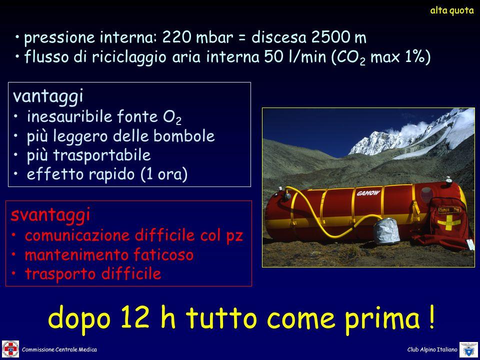 Commissione Centrale Medica Club Alpino Italiano pressione interna: 220 mbar = discesa 2500 m flusso di riciclaggio aria interna 50 l/min (CO 2 max 1%