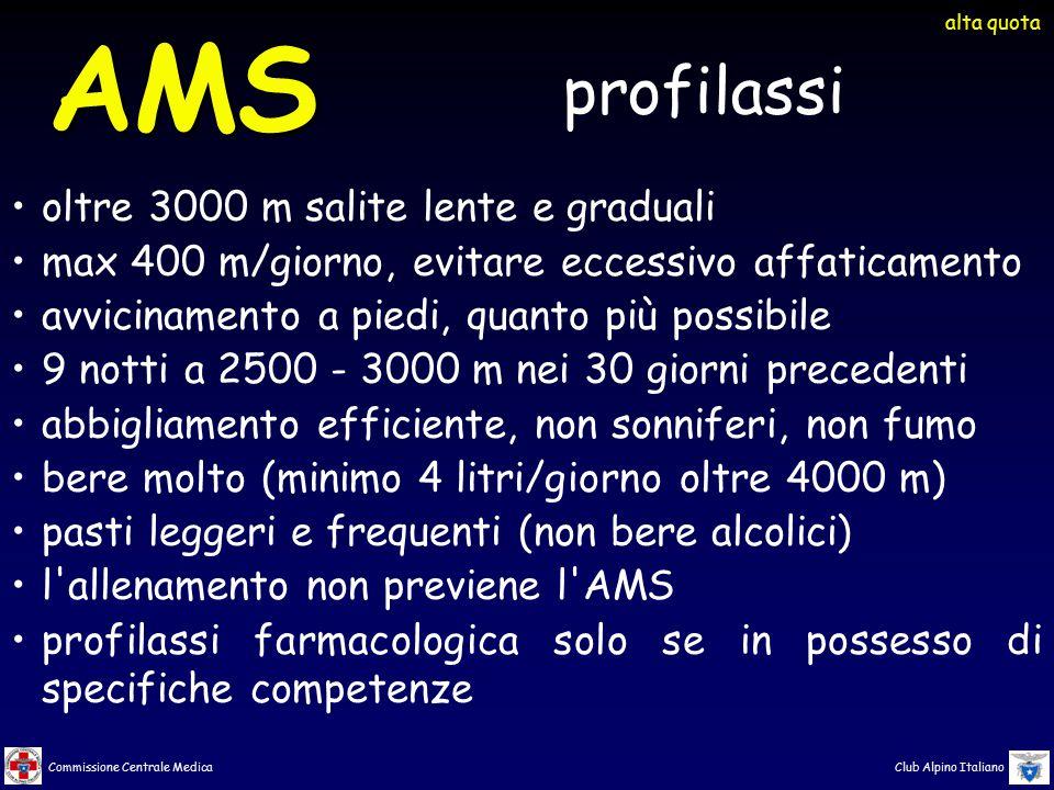 Commissione Centrale Medica Club Alpino Italiano AMS oltre 3000 m salite lente e graduali max 400 m/giorno, evitare eccessivo affaticamento avviciname
