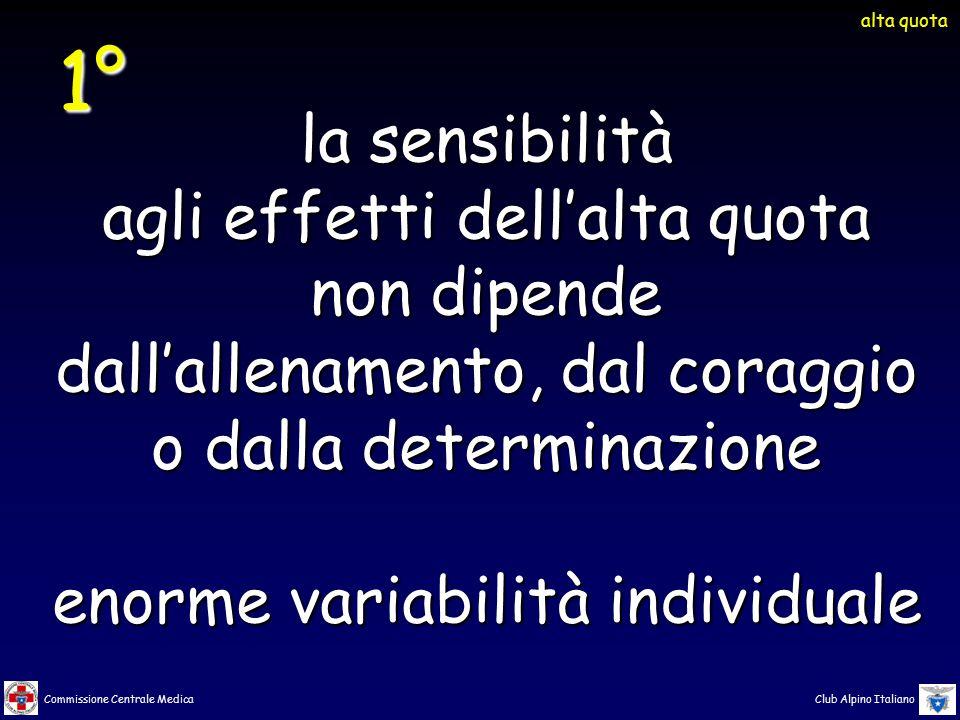 Commissione Centrale Medica Club Alpino Italiano la sensibilità agli effetti dell'alta quota non dipende dall'allenamento, dal coraggio o dalla determ