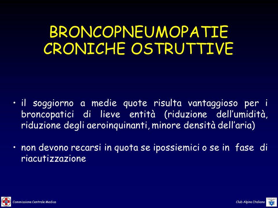 Commissione Centrale Medica Club Alpino Italiano BRONCOPNEUMOPATIE CRONICHE OSTRUTTIVE il soggiorno a medie quote risulta vantaggioso per i broncopati