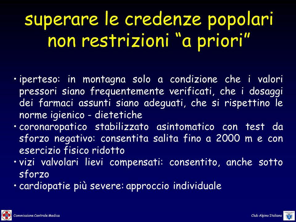 Commissione Centrale Medica Club Alpino Italiano iperteso: in montagna solo a condizione che i valori pressori siano frequentemente verificati, che i