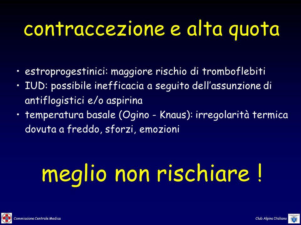 Commissione Centrale Medica Club Alpino Italiano estroprogestinici: maggiore rischio di tromboflebiti IUD: possibile inefficacia a seguito dell'assunz
