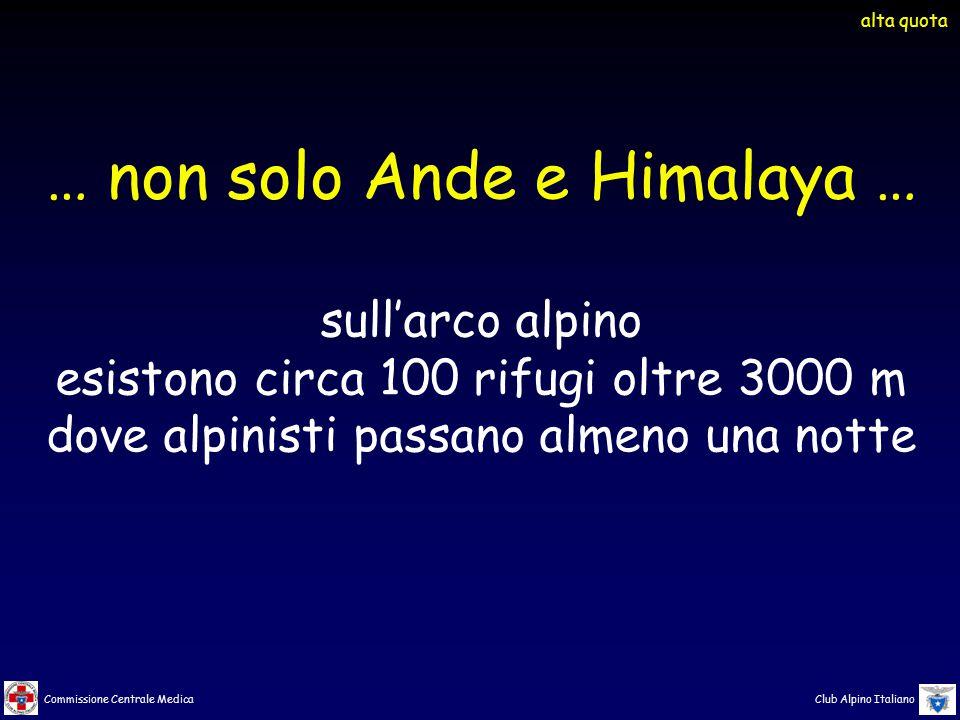Commissione Centrale Medica Club Alpino Italiano … non solo Ande e Himalaya … sull'arco alpino esistono circa 100 rifugi oltre 3000 m dove alpinisti p