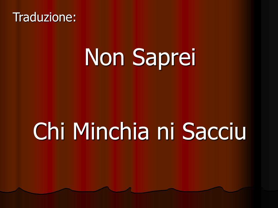 Non Saprei Chi Minchia ni Sacciu Traduzione: