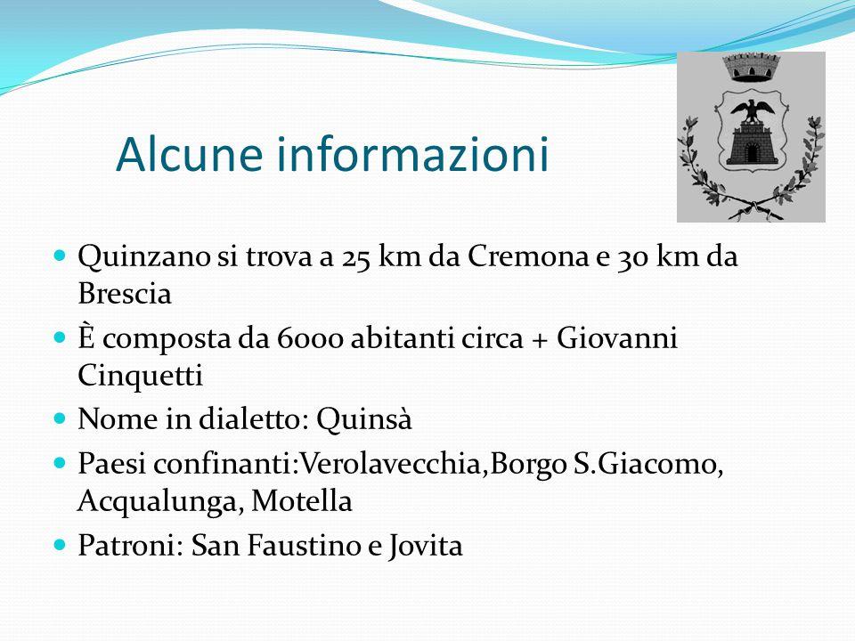 Alcune informazioni Quinzano si trova a 25 km da Cremona e 30 km da Brescia È composta da 6000 abitanti circa + Giovanni Cinquetti Nome in dialetto: Q