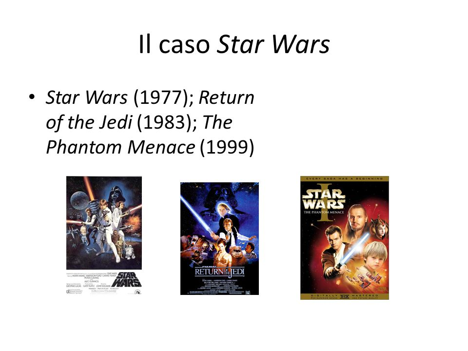 Il caso Star Wars Star Wars (1977); Return of the Jedi (1983); The Phantom Menace (1999)