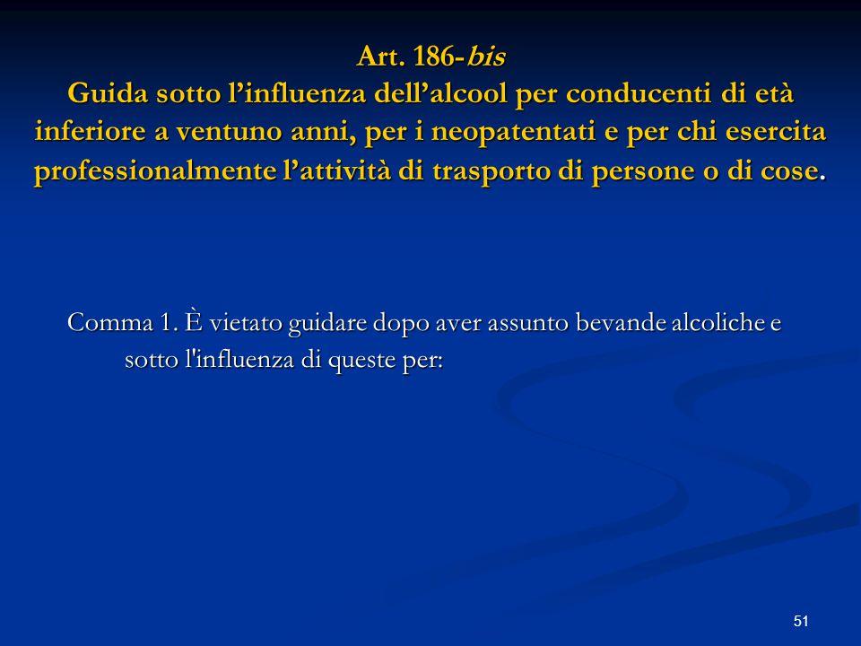 51 Art. 186-bis Guida sotto l'influenza dell'alcool per conducenti di età inferiore a ventuno anni, per i neopatentati e per chi esercita professional