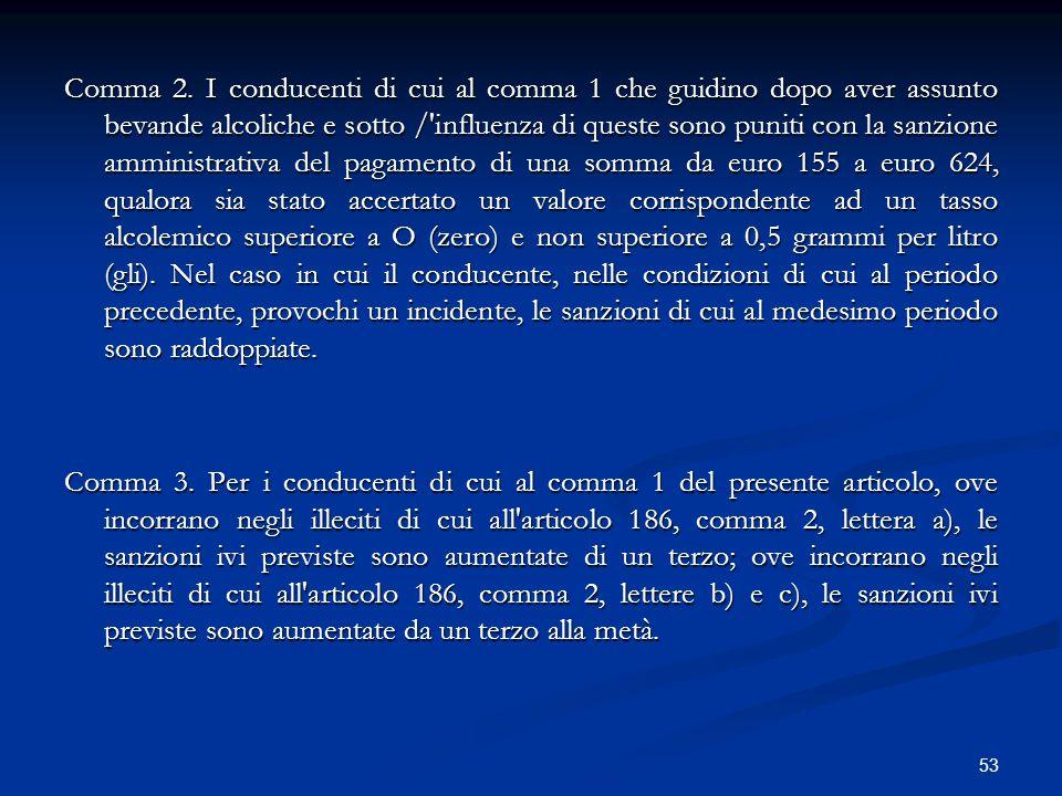53 Comma 2. I conducenti di cui al comma 1 che guidino dopo aver assunto bevande alcoliche e sotto /'influenza di queste sono puniti con la sanzione a