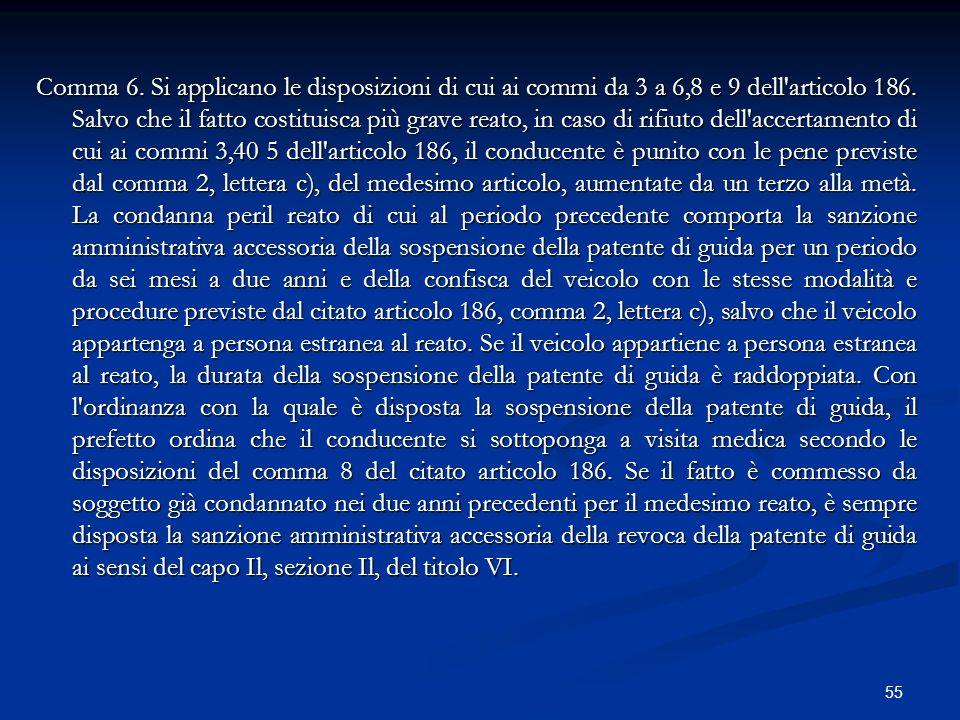 55 Comma 6. Si applicano le disposizioni di cui ai commi da 3 a 6,8 e 9 dell'articolo 186. Salvo che il fatto costituisca più grave reato, in caso di