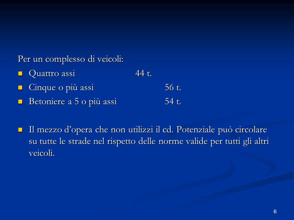 6 Per un complesso di veicoli: Quattro assi44 t. Quattro assi44 t. Cinque o più assi56 t. Cinque o più assi56 t. Betoniere a 5 o più assi54 t. Betonie