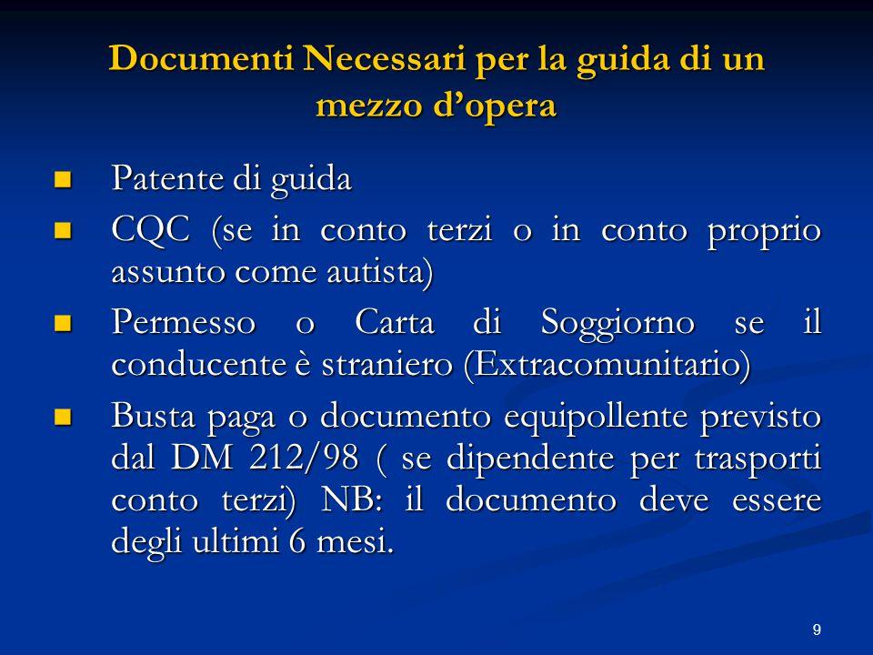 9 Documenti Necessari per la guida di un mezzo d'opera Patente di guida Patente di guida CQC (se in conto terzi o in conto proprio assunto come autist