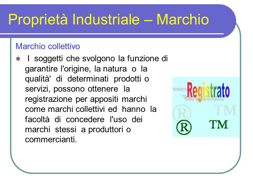 Proprietà Industriale – Marchio Marchio collettivo I soggetti che svolgono la funzione di garantire l'origine, la natura o la qualità' di determinati