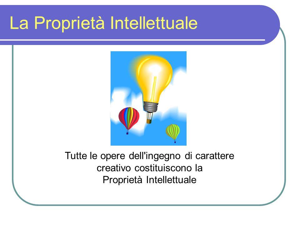 La Proprietà Intellettuale Tutte le opere dell ingegno di carattere creativo costituiscono la Proprietà Intellettuale