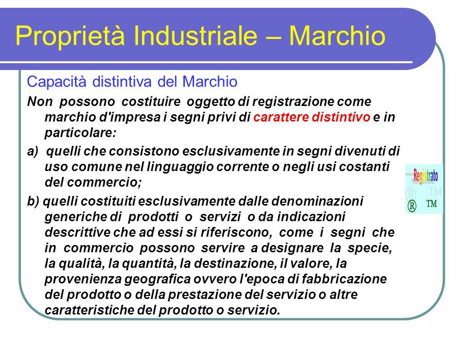Proprietà Industriale – Marchio Capacità distintiva del Marchio Non possono costituire oggetto di registrazione come marchio d'impresa i segni privi d