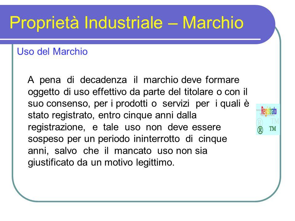 Proprietà Industriale – Marchio Uso del Marchio A pena di decadenza il marchio deve formare oggetto di uso effettivo da parte del titolare o con il su