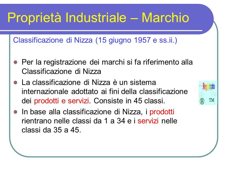 Proprietà Industriale – Marchio Classificazione di Nizza (15 giugno 1957 e ss.ii.) Per la registrazione dei marchi si fa riferimento alla Classificazione di Nizza La classificazione di Nizza è un sistema internazionale adottato ai fini della classificazione dei prodotti e servizi.