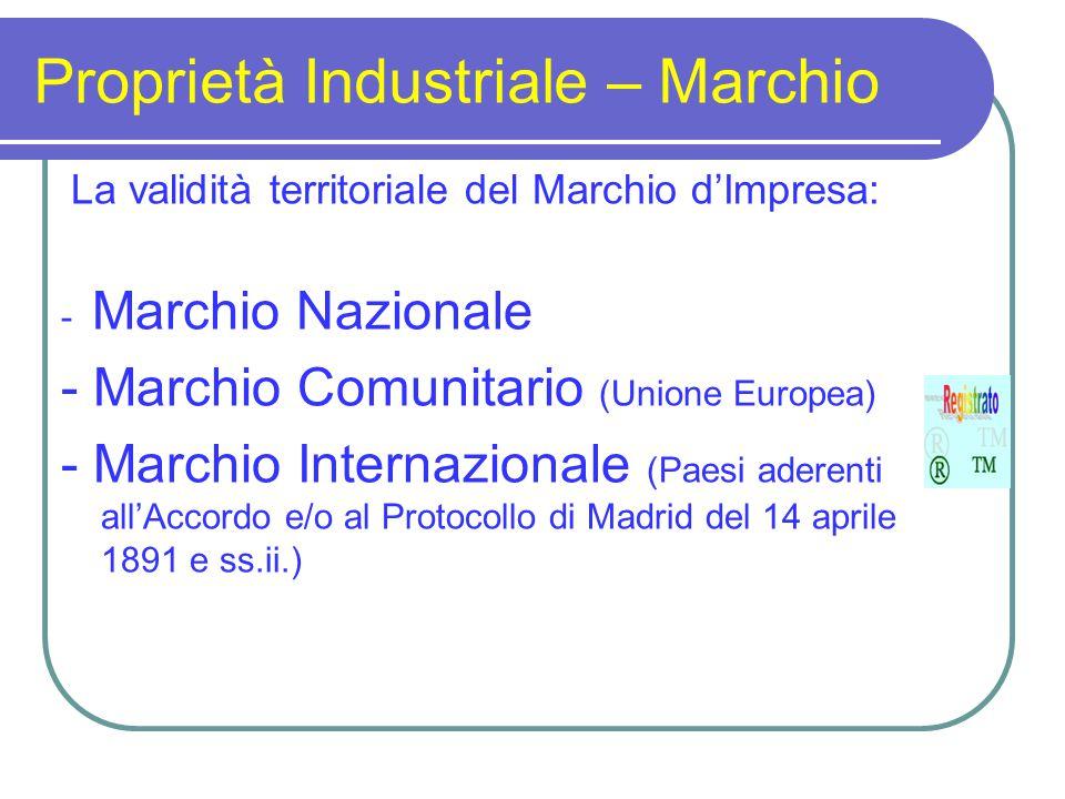 Proprietà Industriale – Marchio La validità territoriale del Marchio d'Impresa: - Marchio Nazionale - Marchio Comunitario (Unione Europea) - Marchio I