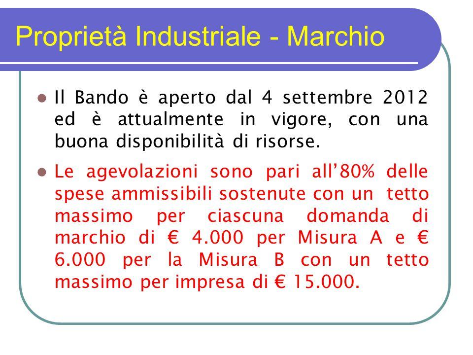 Proprietà Industriale - Marchio Il Bando è aperto dal 4 settembre 2012 ed è attualmente in vigore, con una buona disponibilità di risorse.
