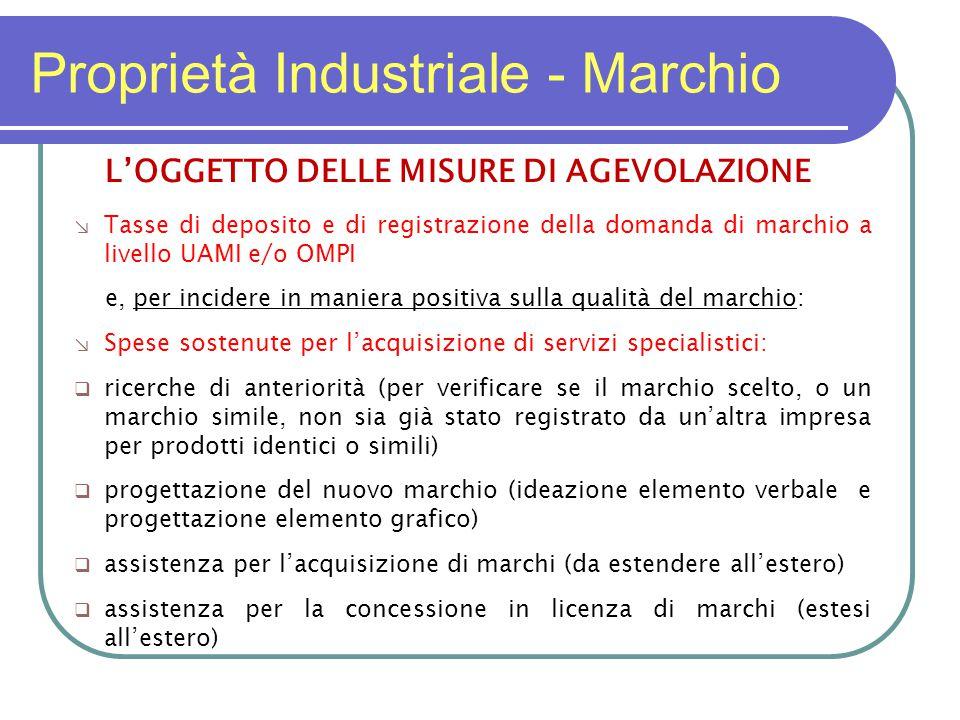 Proprietà Industriale - Marchio L'OGGETTO DELLE MISURE DI AGEVOLAZIONE ↘ Tasse di deposito e di registrazione della domanda di marchio a livello UAMI