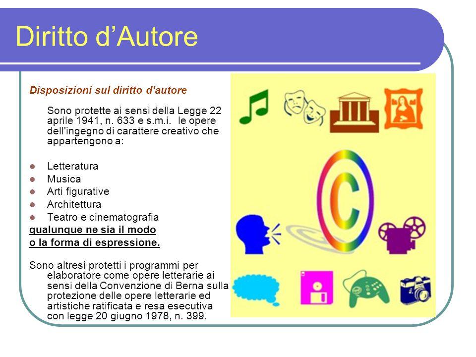 Diritto d'Autore Disposizioni sul diritto d autore Sono protette ai sensi della Legge 22 aprile 1941, n.
