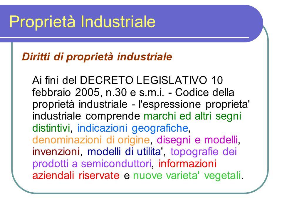 Proprietà Industriale Diritti di proprietà industriale Ai fini del DECRETO LEGISLATIVO 10 febbraio 2005, n.30 e s.m.i. - Codice della proprietà indust