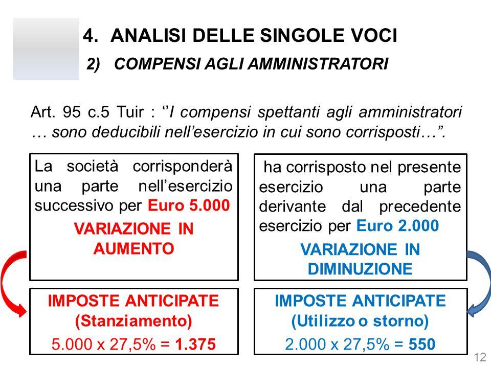 Art. 95 c.5 Tuir : ''I compensi spettanti agli amministratori … sono deducibili nell'esercizio in cui sono corrisposti…''. 12 2)COMPENSI AGLI AMMINIST
