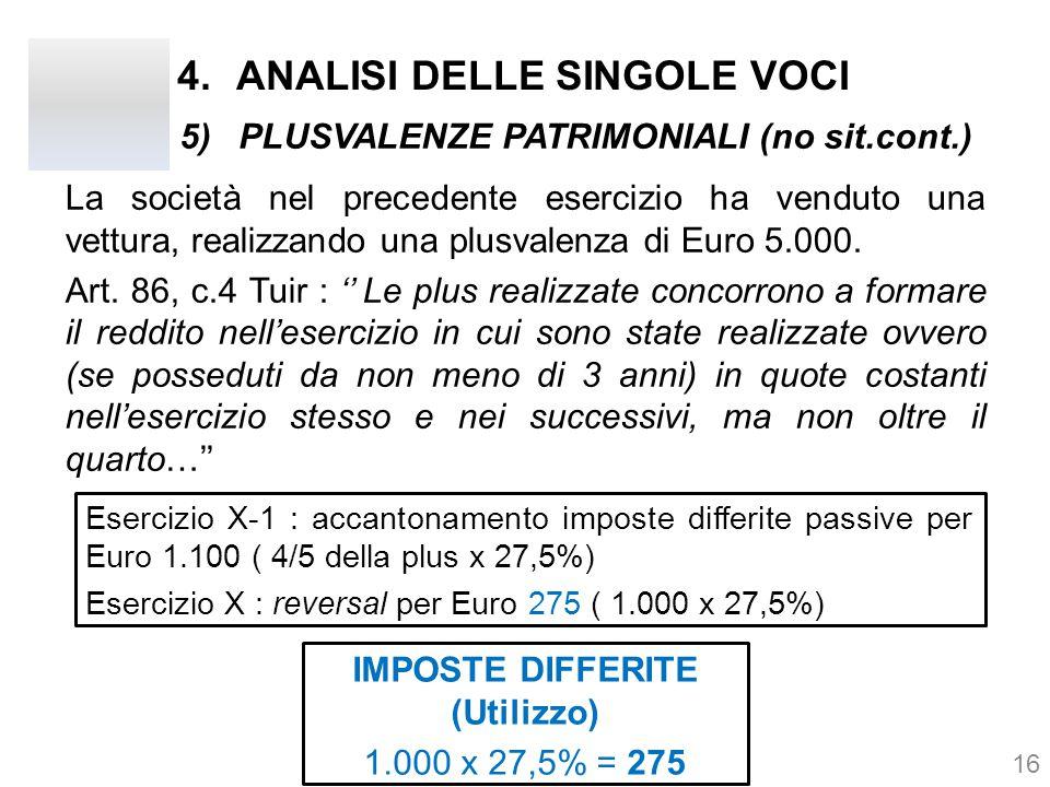 4.ANALISI DELLE SINGOLE VOCI La società nel precedente esercizio ha venduto una vettura, realizzando una plusvalenza di Euro 5.000. Art. 86, c.4 Tuir