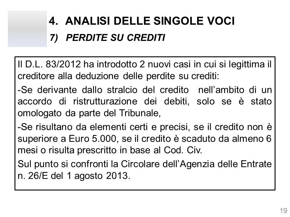 4.ANALISI DELLE SINGOLE VOCI Il D.L. 83/2012 ha introdotto 2 nuovi casi in cui si legittima il creditore alla deduzione delle perdite su crediti: -Se